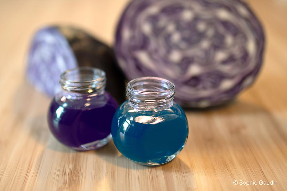 Colorants alimentaires naturels bleu et violet à base de chou rouge.
